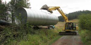 hatter creek earthworks excavator moving culvert idaho